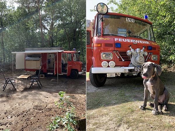 Kamperen in een oude brandweerwagen