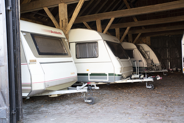 Caravan of camper in winterstalling
